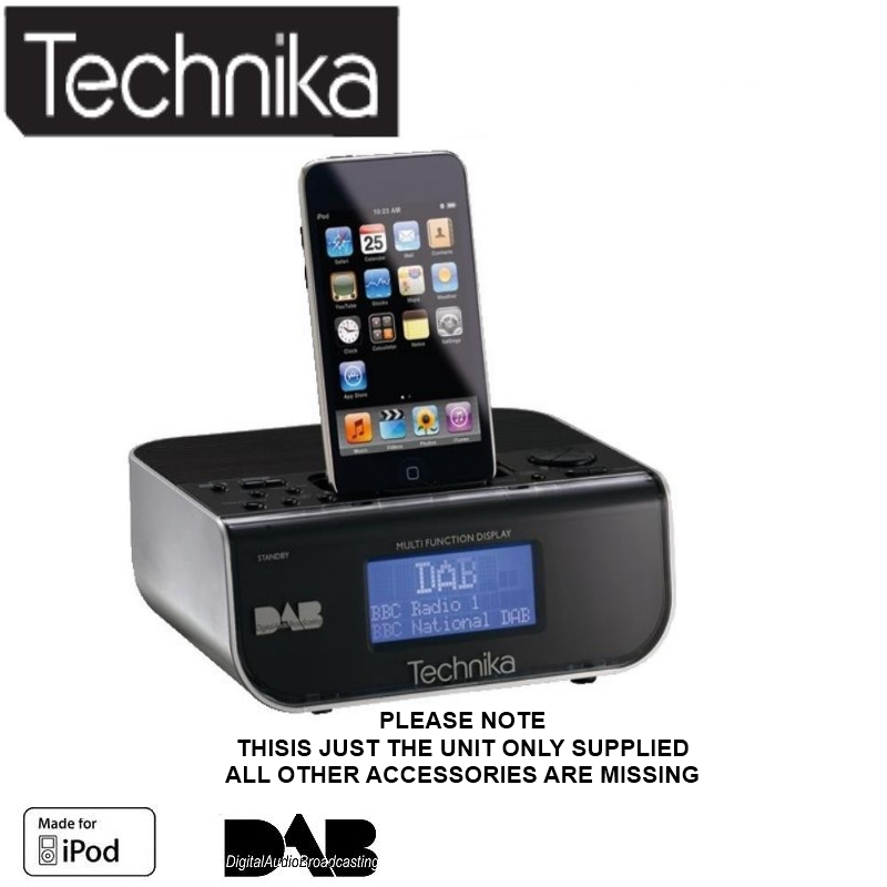 technika cr121idab alarm with dock for ipod with fm dab clock radio unit only ebay. Black Bedroom Furniture Sets. Home Design Ideas