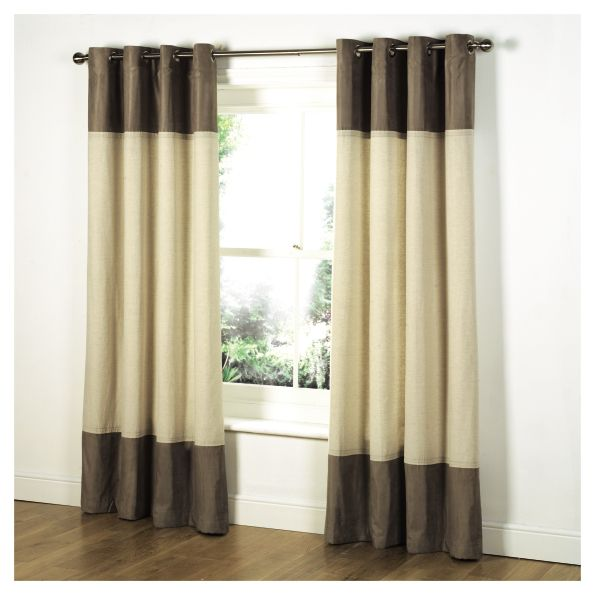 Lined Linen Drapes: TESCO LINEN LOOK + FAUX SUEDE LINED EYELET CURTAINS 90 X