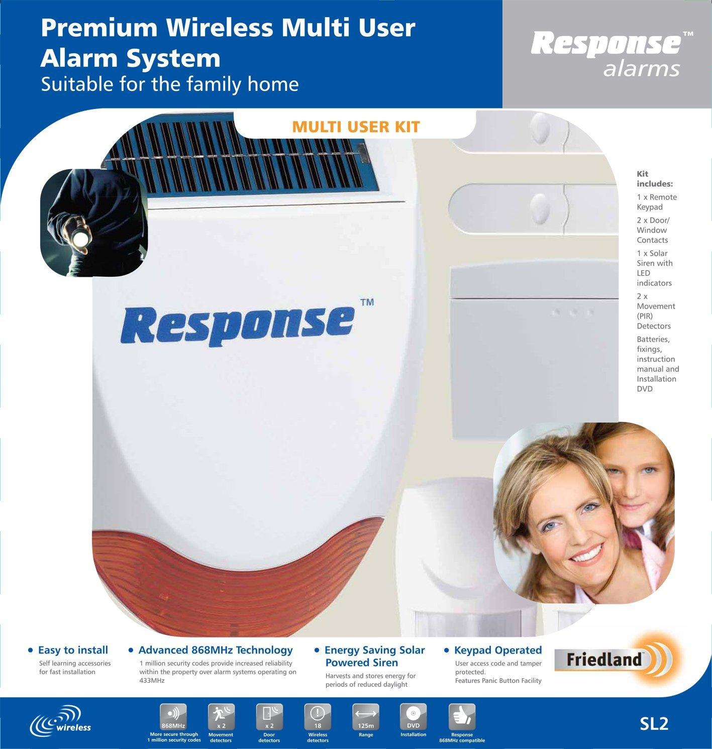friedland response sl2 wireless multi user keypad controlled burglar alarm. Black Bedroom Furniture Sets. Home Design Ideas