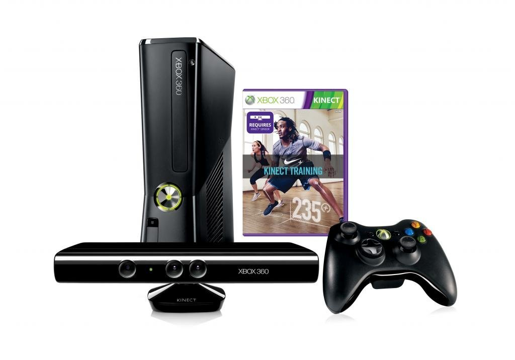 MICROSOFT XBOX 360 4GB HDD GAMING CONSOLE WITH KINECT NIKE+ TRAINING BROWN BOX