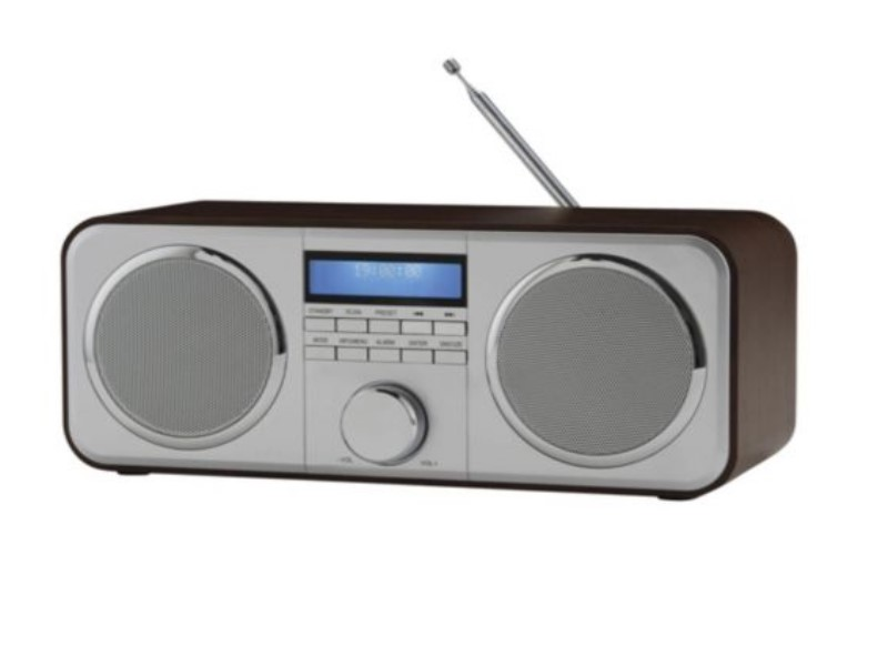 tesco dr1402 wooden dab stereo radio with 10 preset lcd display silver brown box. Black Bedroom Furniture Sets. Home Design Ideas