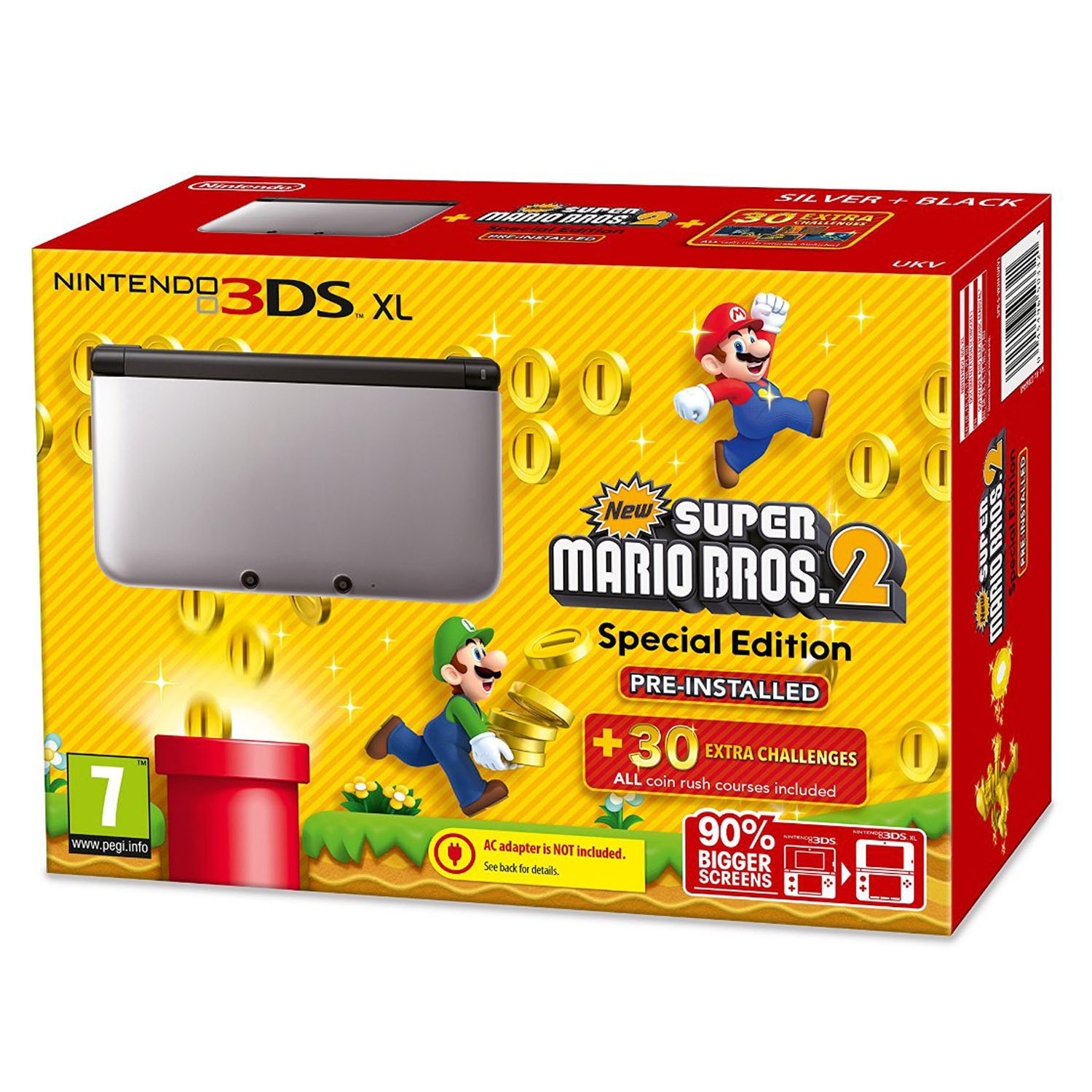 nintendo 3ds xl console limited edition with new super mario bros 2 silver ebay. Black Bedroom Furniture Sets. Home Design Ideas
