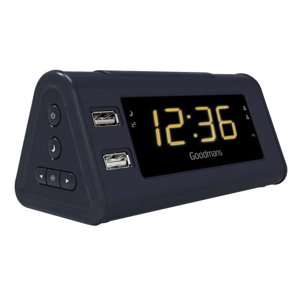 goodmans gcrusbo3 usb fm radio with alarm clock dual alarm snooze led black ebay. Black Bedroom Furniture Sets. Home Design Ideas