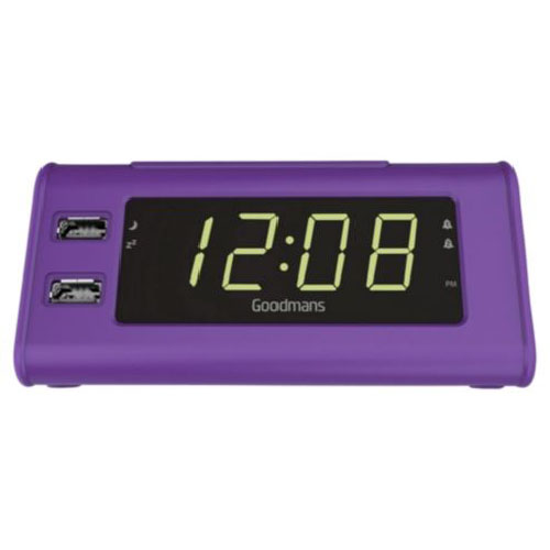 new goodmans gcrusb03 alarm clock radio with dual usb charging purple ebay. Black Bedroom Furniture Sets. Home Design Ideas