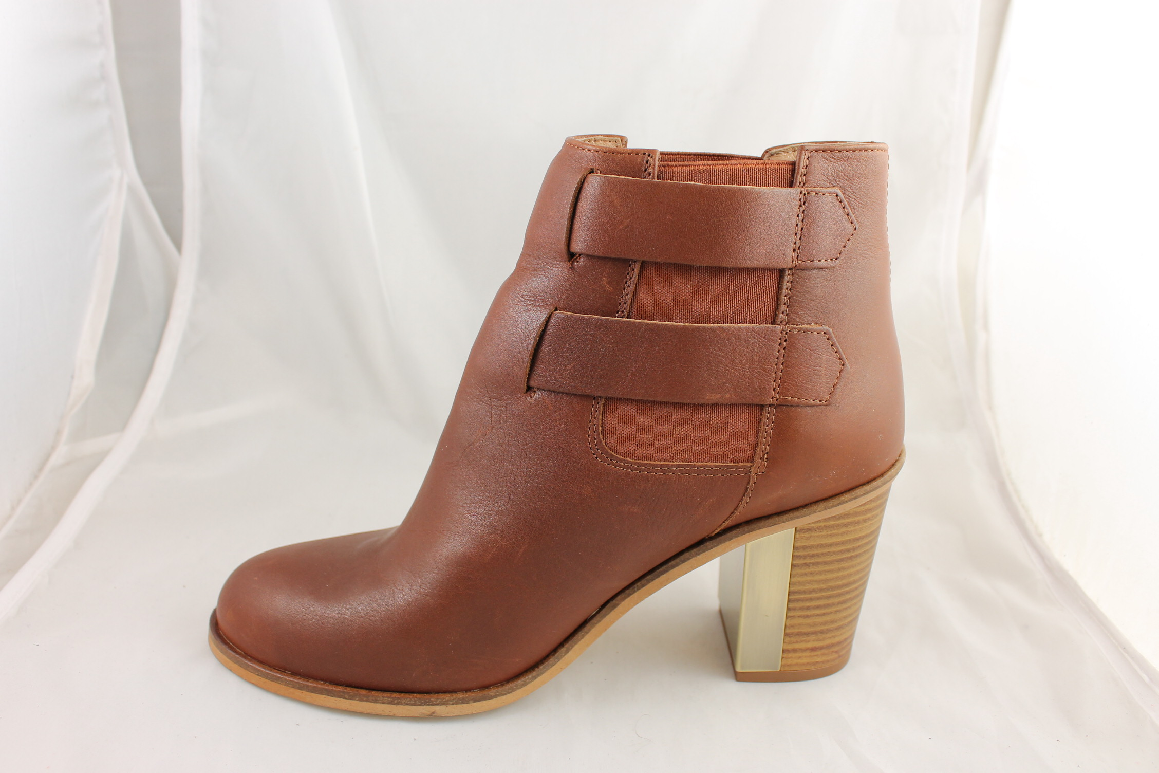 Womens-Office-Florence-Elastic-Buckle-boots-TAN-LEATHER-