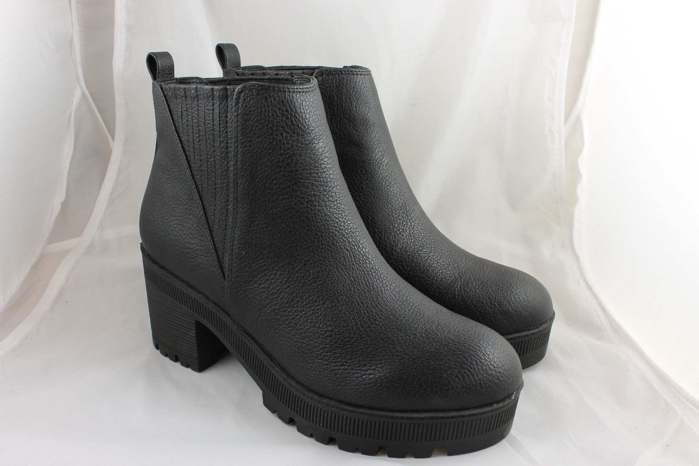 Womens Office Flunk Chunky Chelsea Boots Black Tumbled