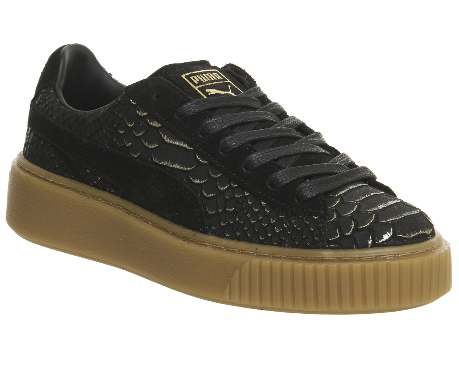 fac2ca06523 ... Womens-Puma-Suede-Platform-BLACK-GOLD-EXOTICS-Trainers- ...