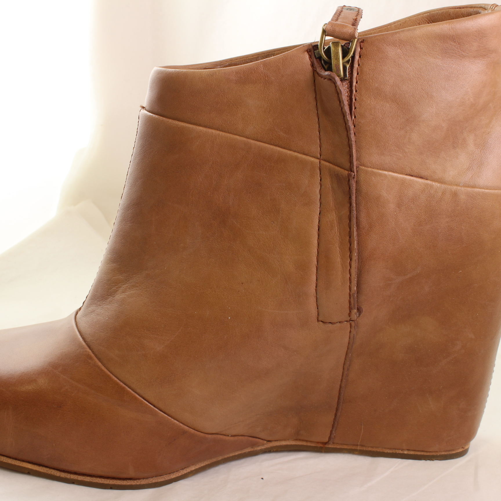 womens ugg brown leather ankle boots uk size 7 5 ex