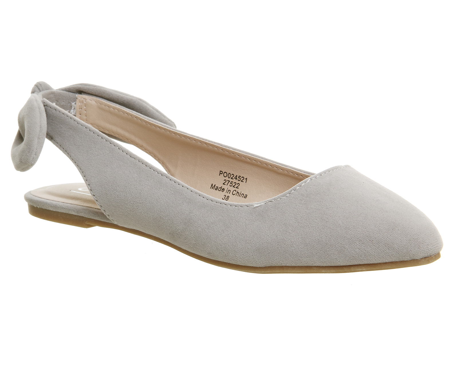 Womens-Office-Fairytale-Slingback-Bow-Points-GREY-VELVET-