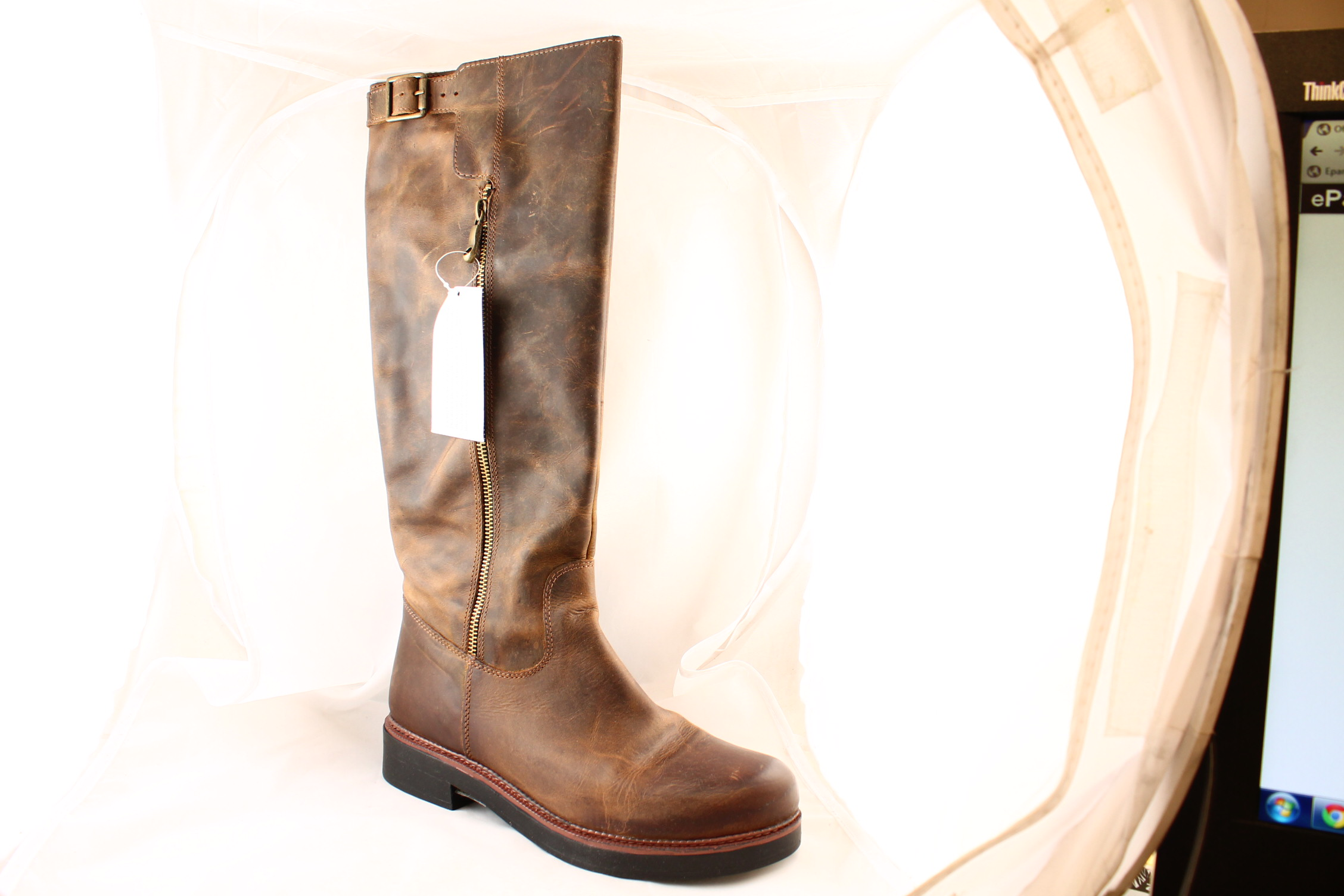 Womens-Office-Eagle-Casual-Buckle-Knee-Boots-BROWN-