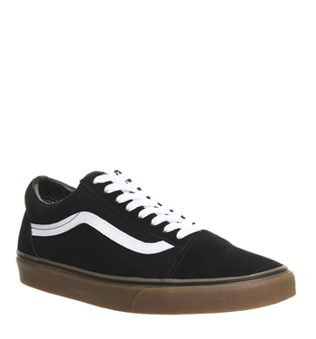 herren vans old skool schwarz gum sohle turnschuhe ebay. Black Bedroom Furniture Sets. Home Design Ideas