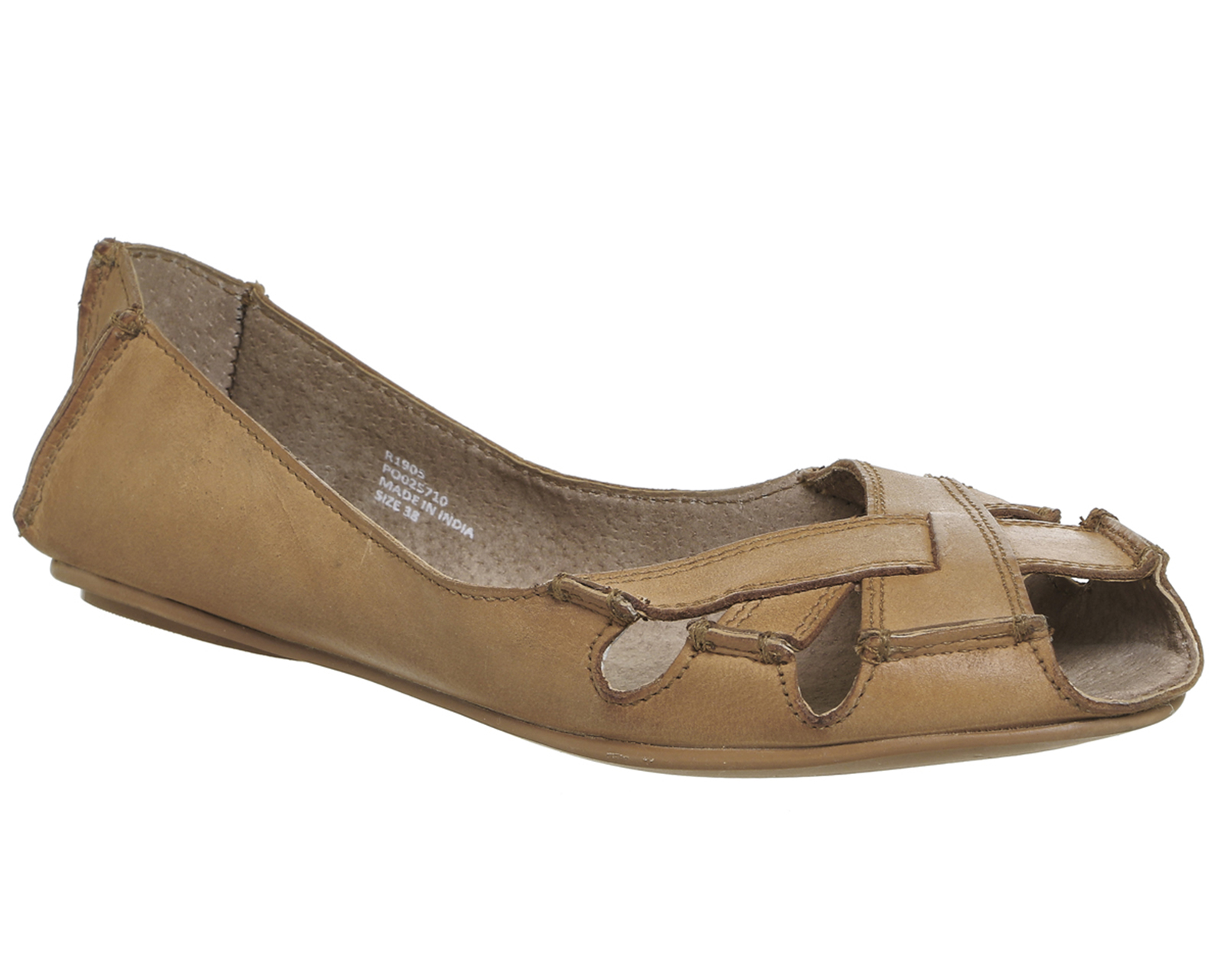 Womens Office Faint P Toe Shoes Tan Leather