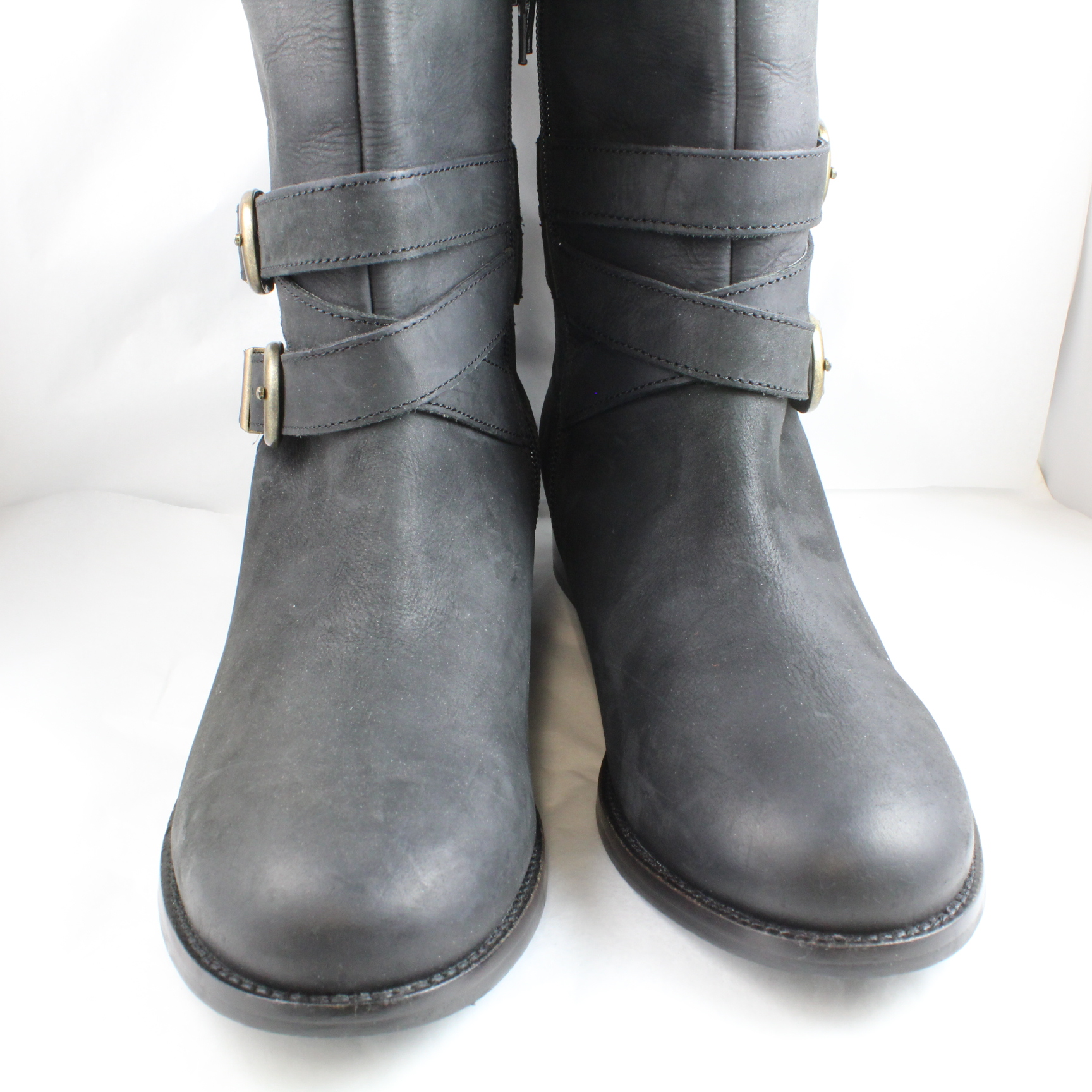 womens office black leather knee high boots uk size 6 ex