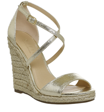 Womens Office Highness Dressy Espadrille Wedges Gold Metallic