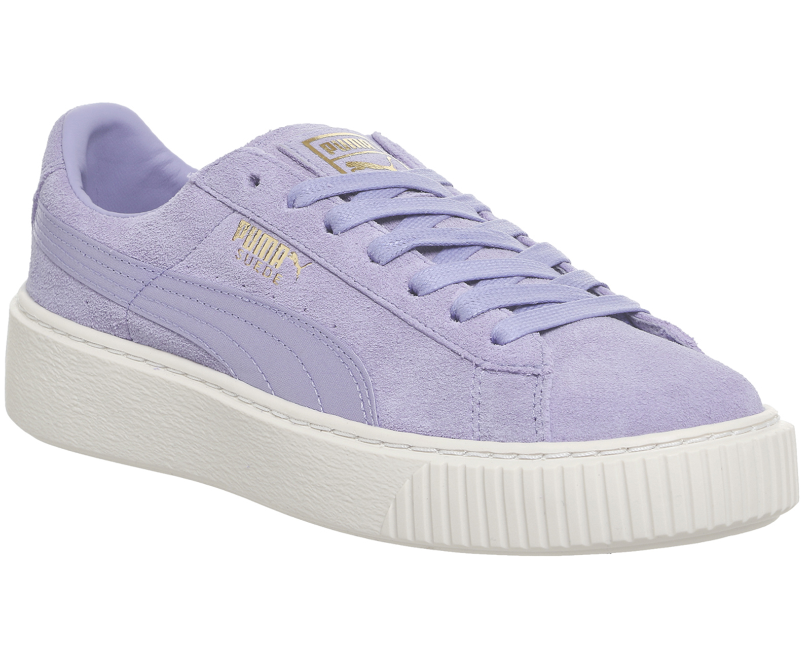 womens puma suede platform trainers lavender gold satin. Black Bedroom Furniture Sets. Home Design Ideas