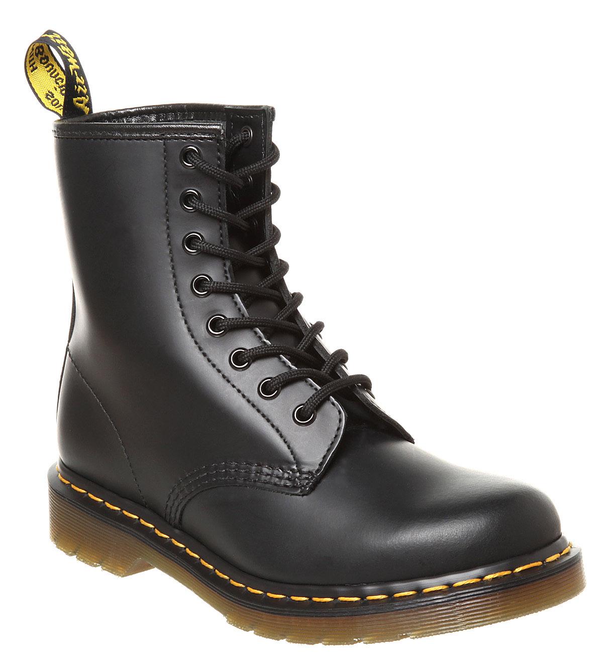 womens dr martens 8 eyelet lace up bt black boots ebay