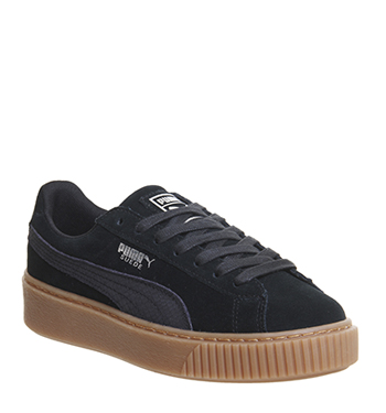 Womens Puma Suede Platforms BLACK SILVER GUM Trainers Shoes  b8a9b065e4
