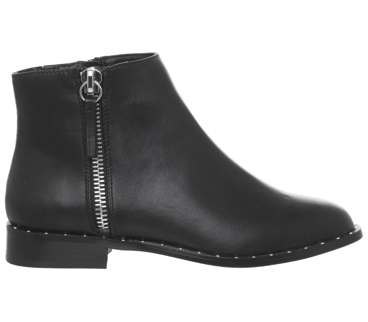 Womens Office Artist Side Zip Boots Black Silver Studded Rand