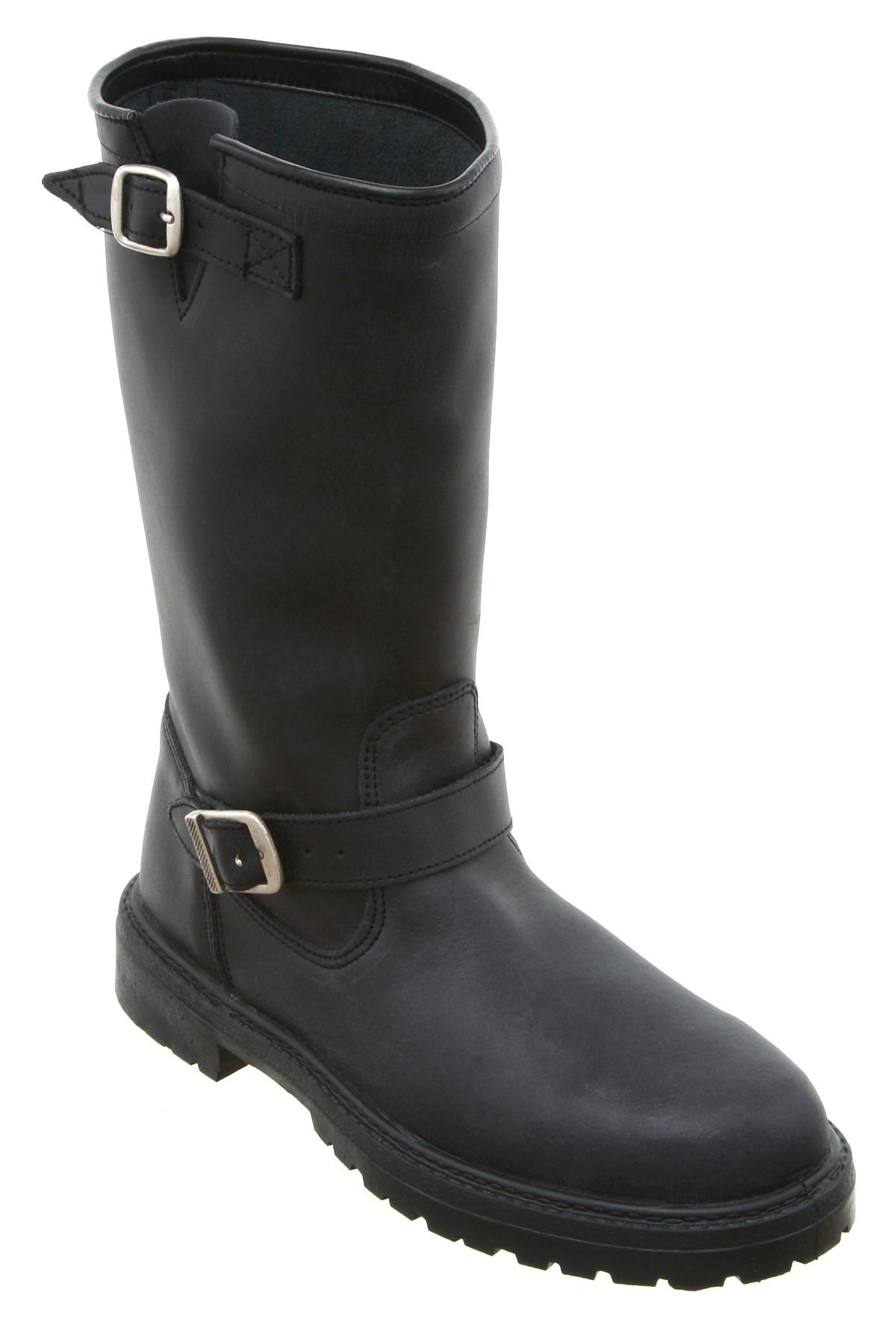 Womens Office Passenger Biker Boot Black Leather Boots | eBay
