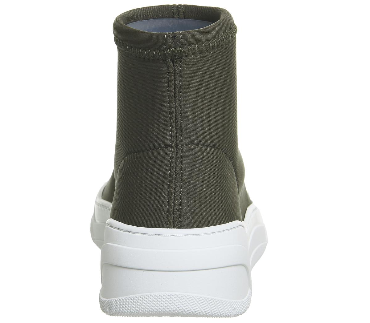 Womens Oki Kutsu Kaikaya Sock Boot Sneakers Khaki Flats