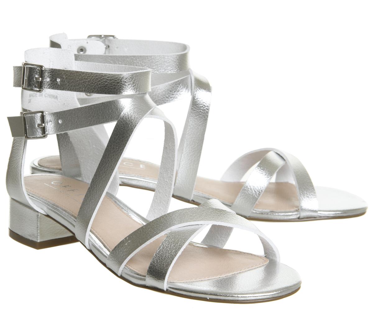 Womens Office Manhattan Strappy Block Heels Silver Heels