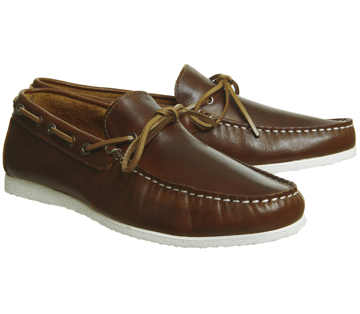 mens ask the missus draft boat shoe brown leather formal
