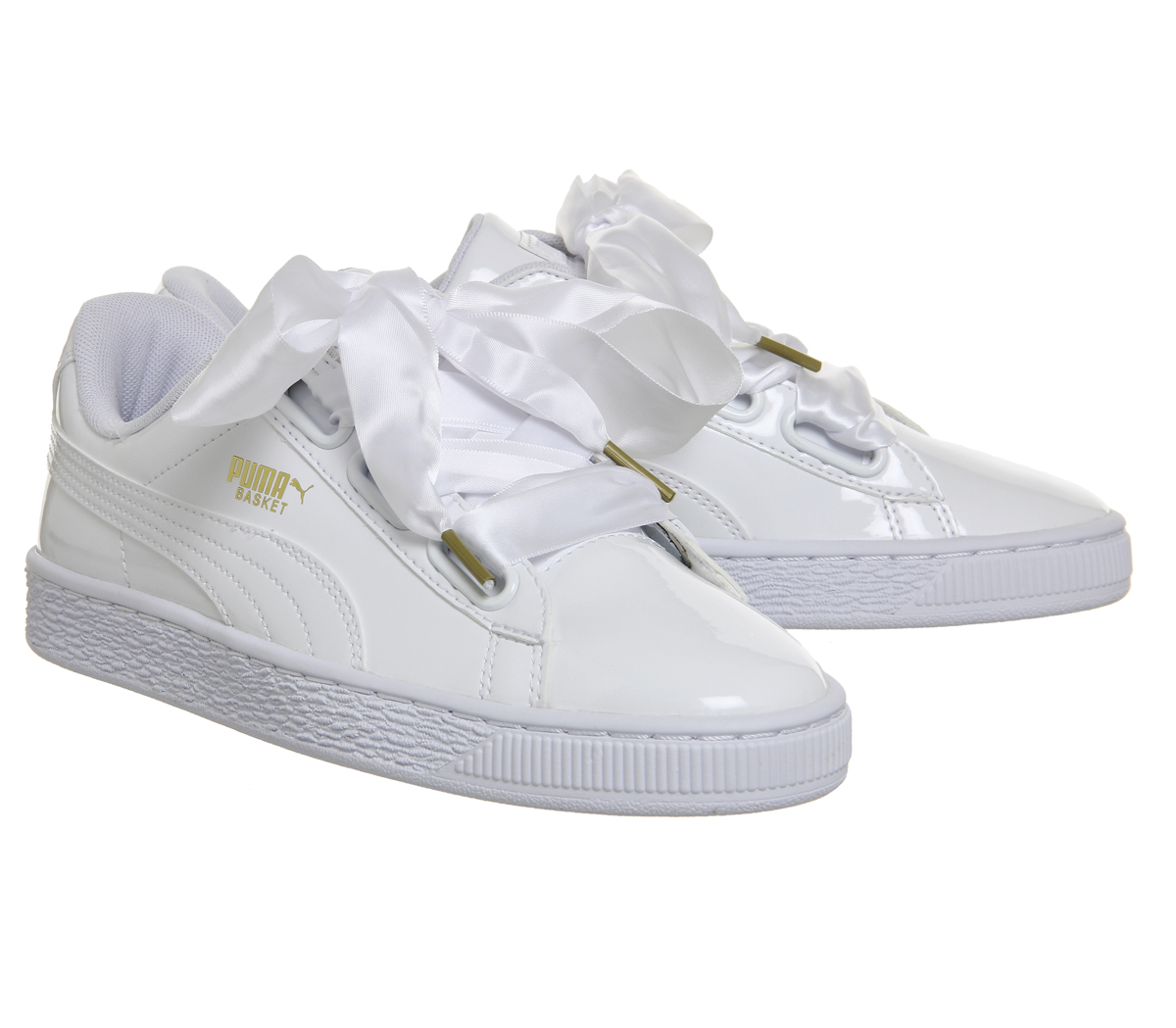 Womens Puma Basket Heart Trainers WHITE PATENT Trainers ...
