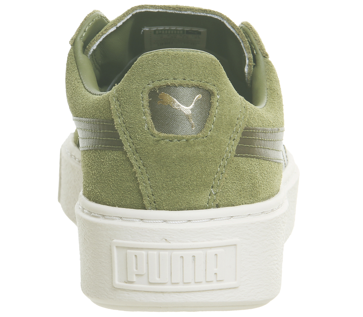 Womens Puma Suede Platform Trainers OLIVE BRANCH GOLD SATIN Trainers ... 604811320