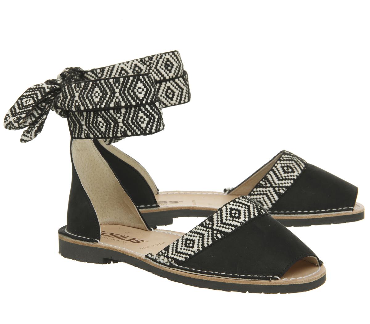 Womens Solillas Solillas Wrap Tie Sandals Black White Sandals