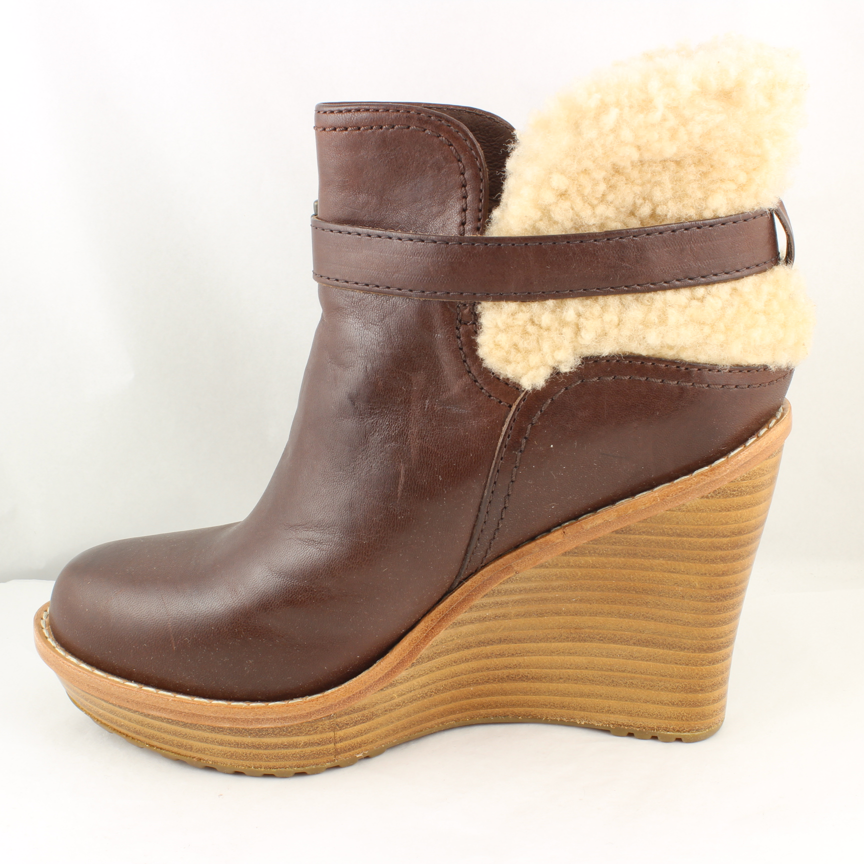womens ugg brown leather buckle ankle boots uk size 3 5 ex