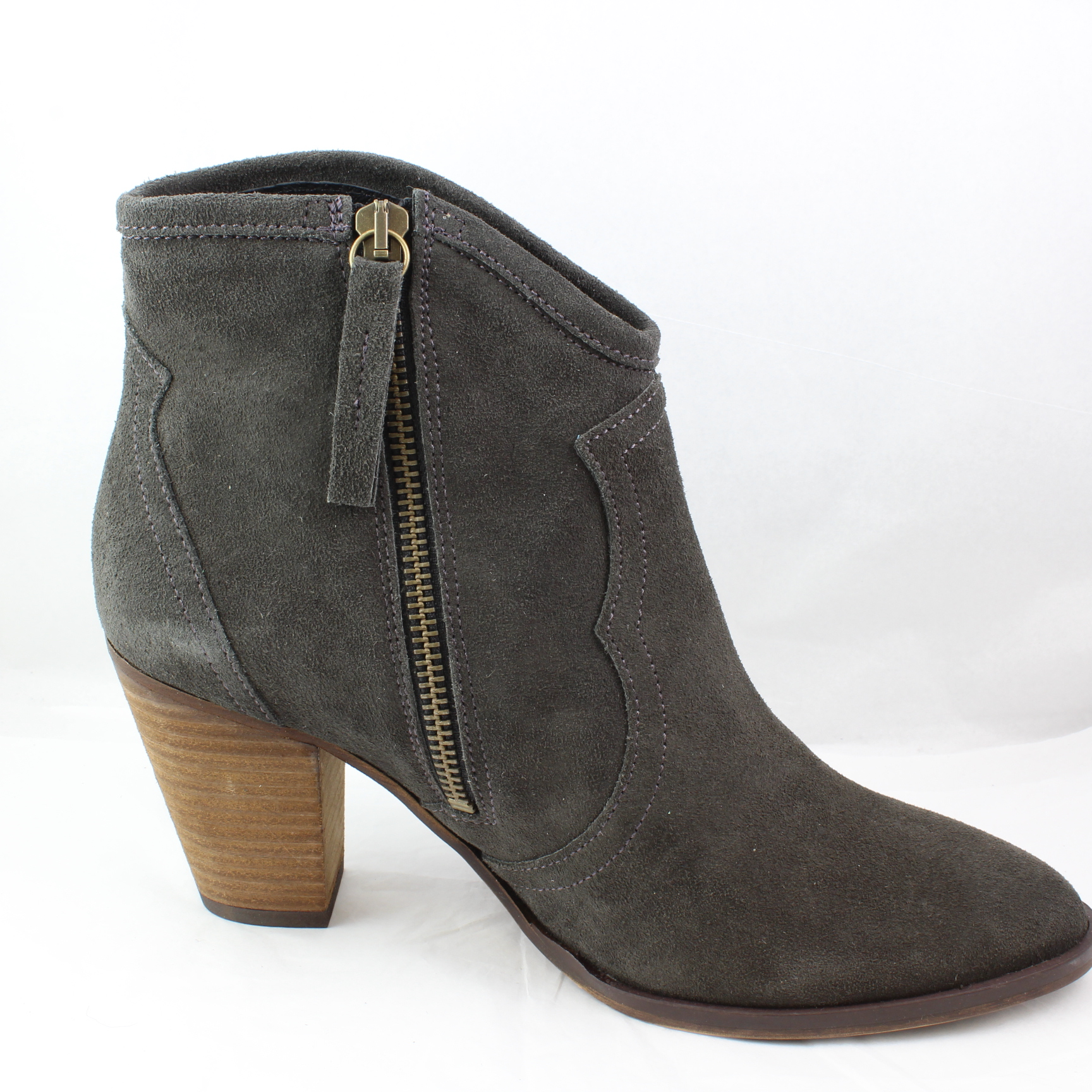 womens office grey suede zip ankle boots uk size 5 ex