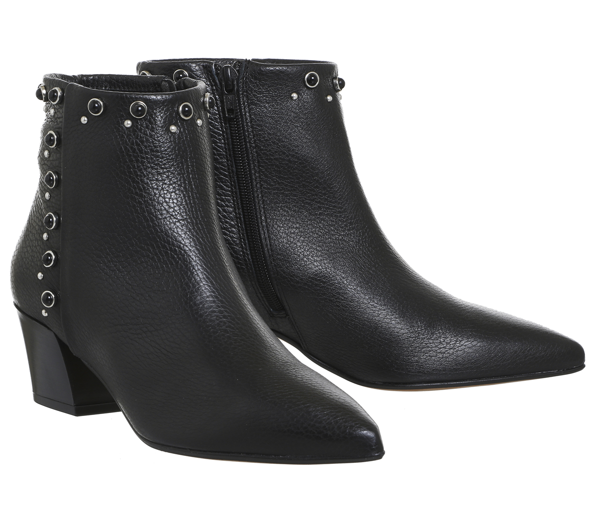Womens Office Astrid Pointed Block Heel Boots Black Leatherpearl Detail Boots