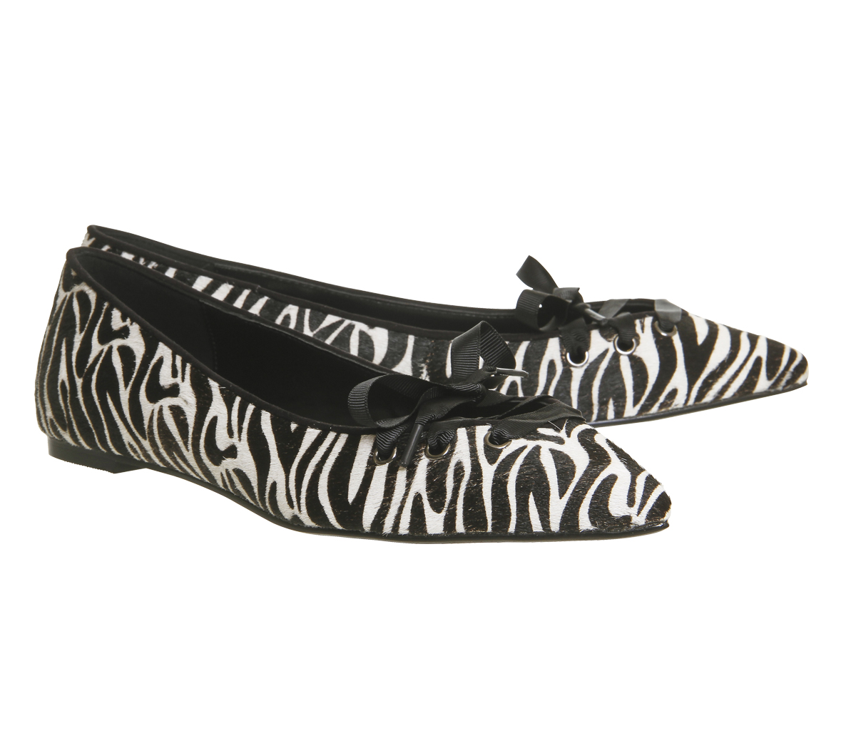 Womens Office Portia Lace Front Points Zebra Print Cow Hair Flats