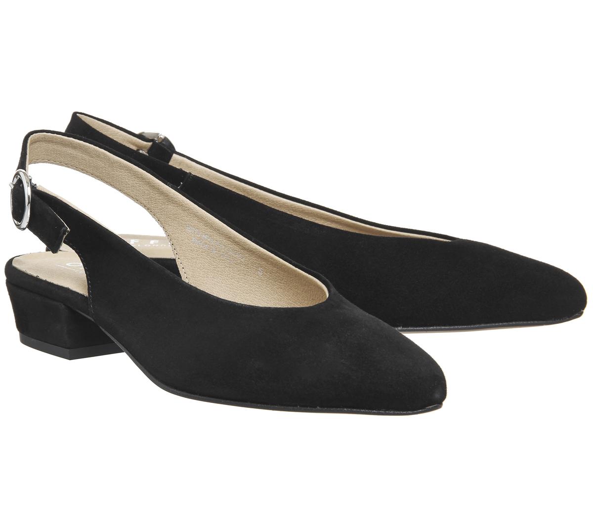 Womens Office Mya Slingback Block Heels Black Suede Heels