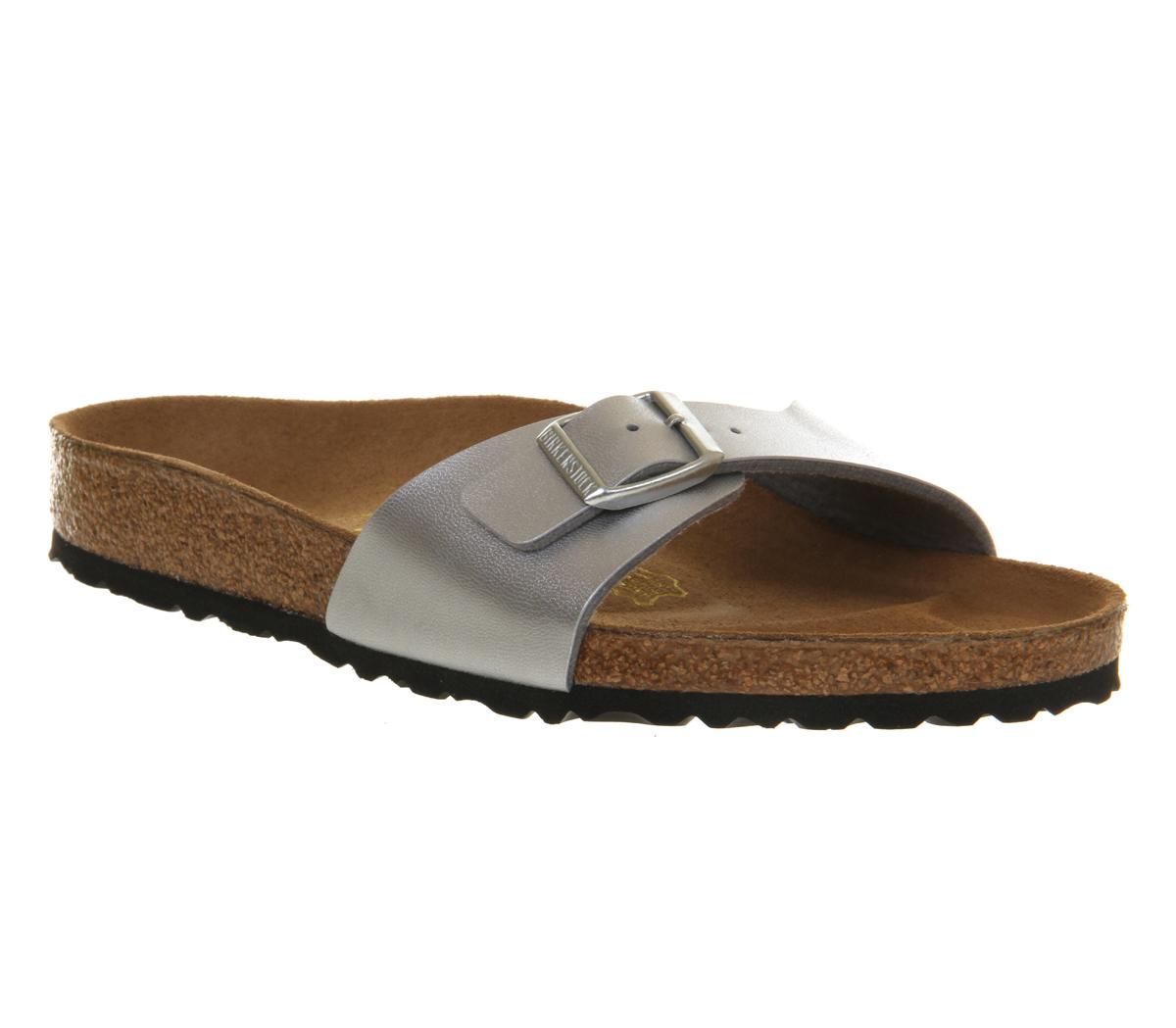 womens birkenstock madrid 1 bar mule silver sandals ebay. Black Bedroom Furniture Sets. Home Design Ideas