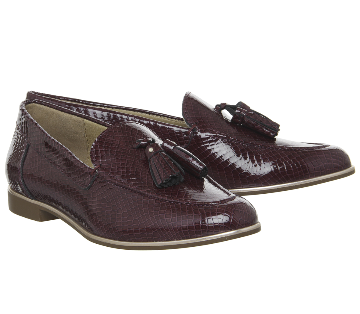 Womens Office Retro Tassel Loafers Burgundy Snake Leather With Rose Gold Rand Fl
