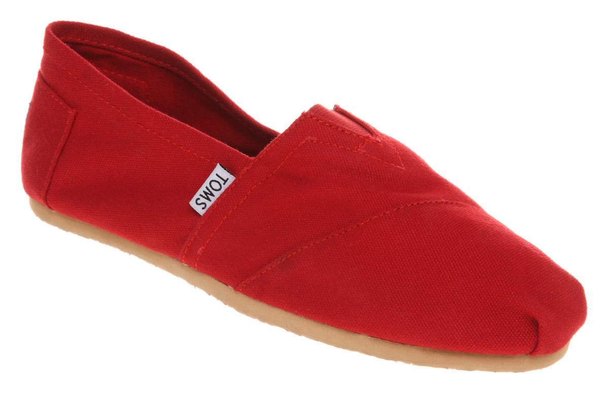 Womens-Toms-Classic-Slip-On-Espadrille-Red-Flats-Shoes