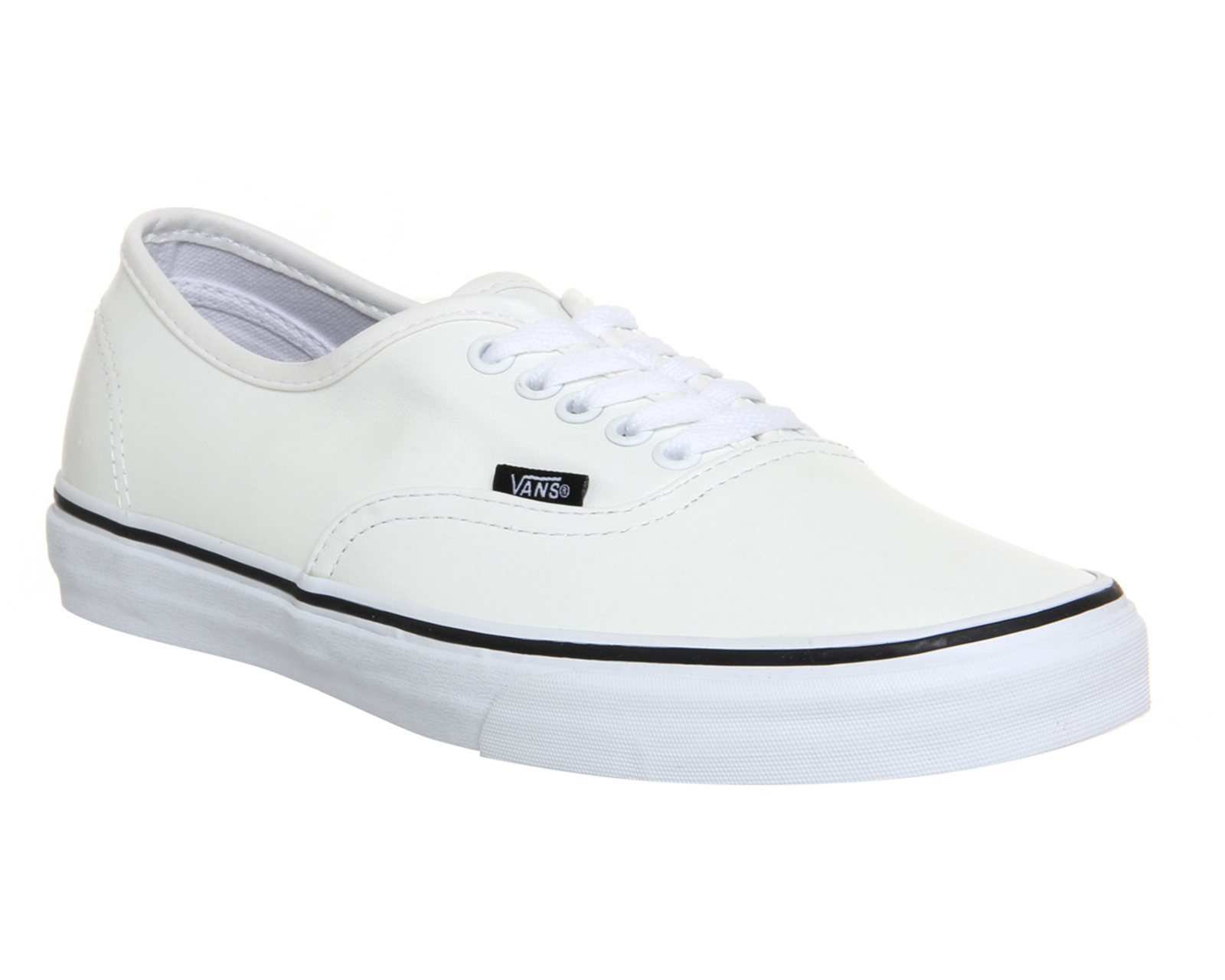 mens vans authentic leather white black st trainers shoes