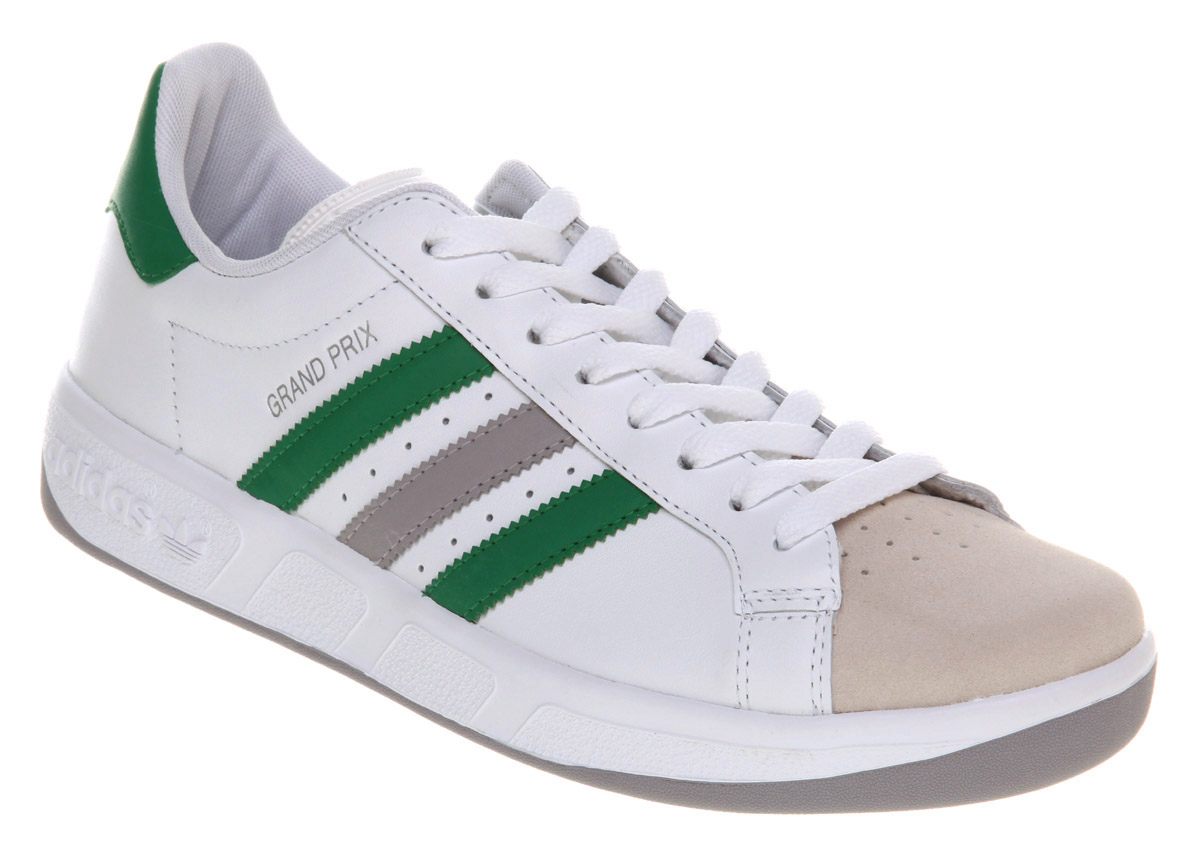 mens adidas grand prix white grn grey trainers shoes ebay. Black Bedroom Furniture Sets. Home Design Ideas
