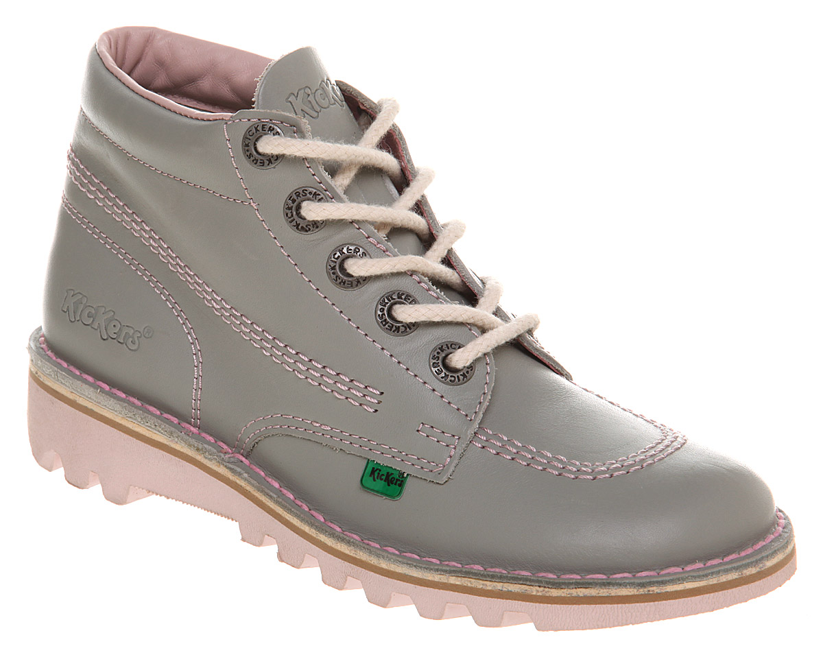 womens kickers kick hi womens greypink flats shoes ebay