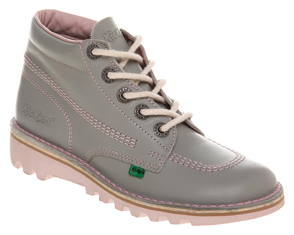 Womens Kickers Kick Hi Womens Grey/pink Flats Shoes | eBay