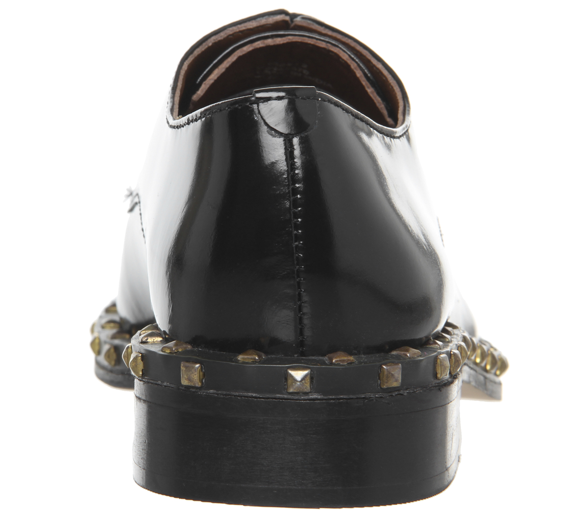 Womens Office Freefall Studded Lace Up Flats Black Box Leather Flats