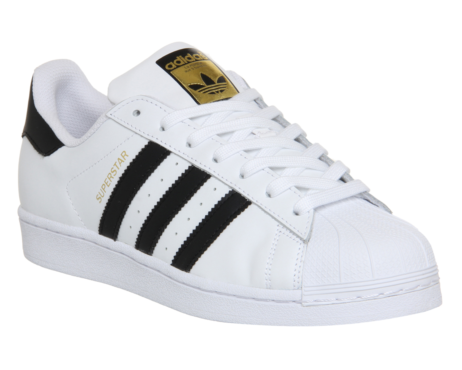 mens adidas superstar 1 white black foundation trainers