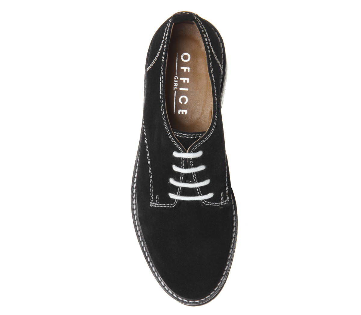 Womens Office Float Contrast Lace Up Flats Black Suede White Stitch Flats
