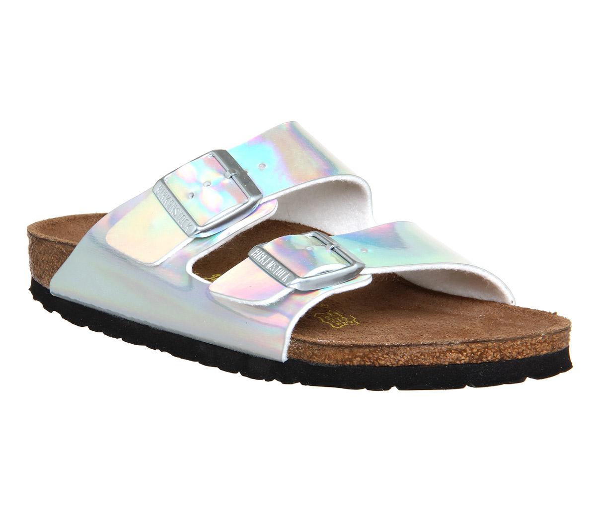 Womens Birkenstock Arizona Two Strap SILVER MIRROR EXCLUSIVE Sandals