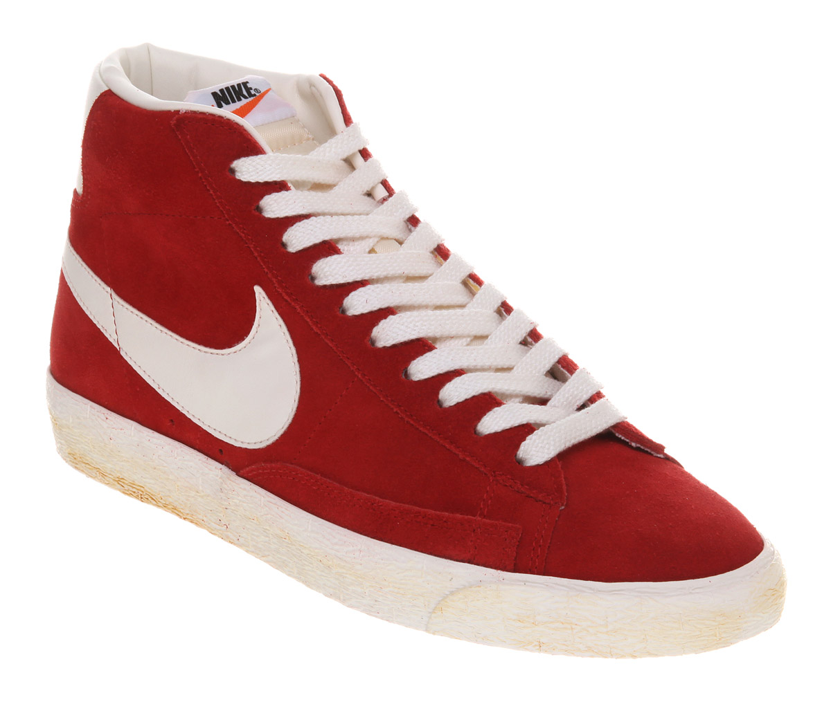 nike blazer high red suede pumps
