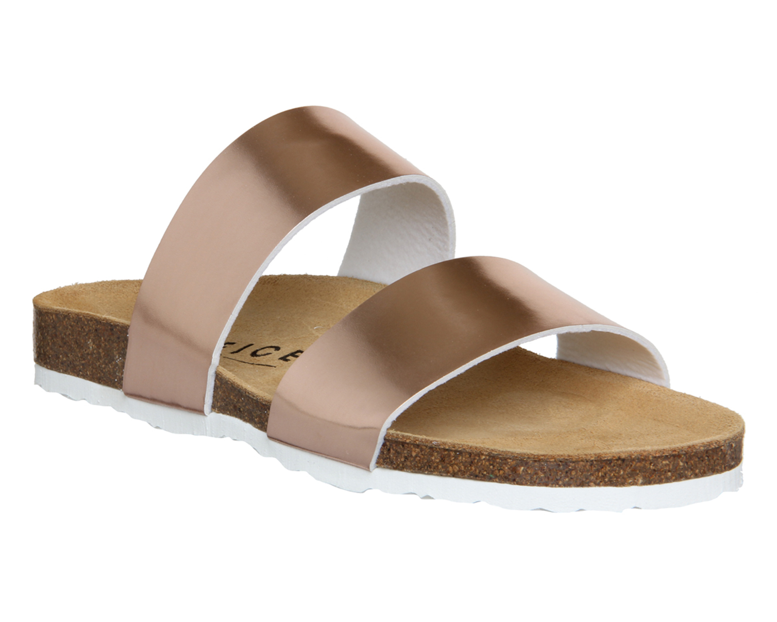 Womens Office Oslo Two Strap Footbed Rose Gold Sandals