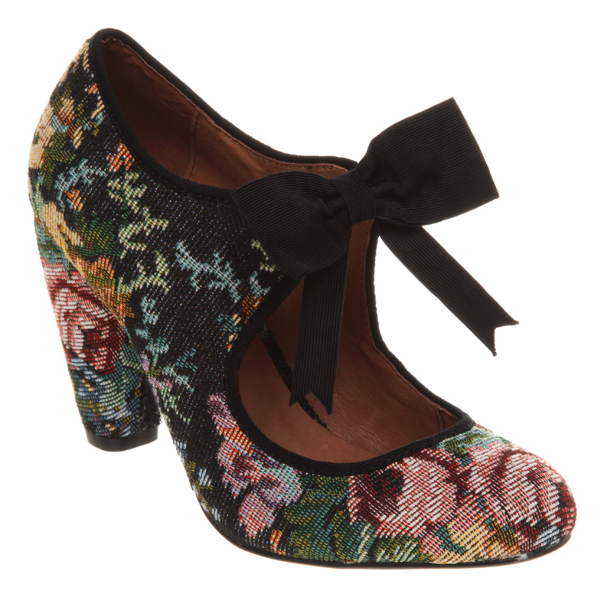 Womens-Office-Take-A-Bow-Black-Tapestry-Heels