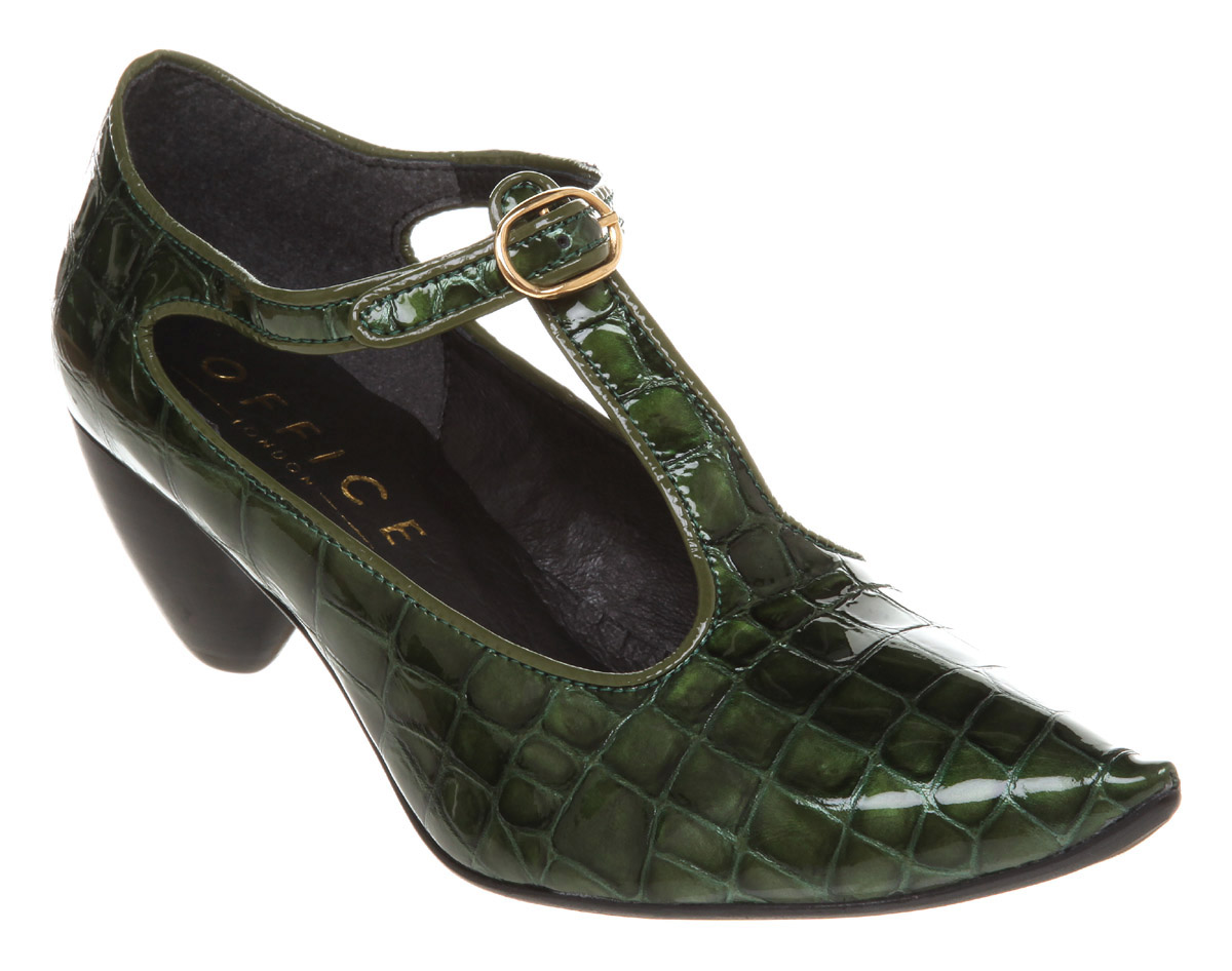 Womens-Office-Falcon-Flew-Bottle-Green-Croc-Heels