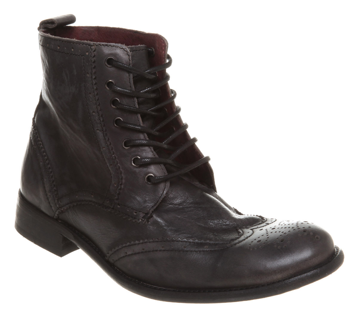 mens poste fury brogue lace boot black leather boots ebay
